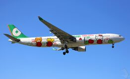 Commercial airliner with Hello Kitty Royalty Free Stock Image