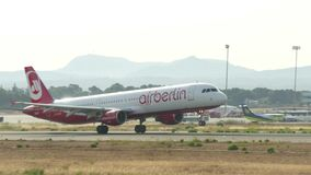 Commercial Airliner Taking Off at Majorca Airport. Passenger airplane taking off at Majorca airport. Airberlin Airlines passenger airplane taking off. Aircraft D stock footage