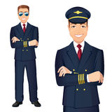 Commercial Airlines Pilot In Uniform. Vector illustration of affable airplane pilot vector illustration