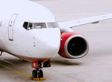 Commercial Airplane. Close up on Commercial Airplane and engine Stock Images