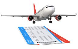 Commercial airplane, airliner with two airline, air flight tickets . Passenger plane take Off, 3d render  on. White background Stock Photos