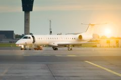 Commercial airplane on airport stock images