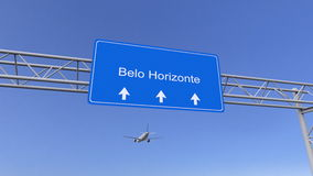 Commercial airplane arriving to Belo Horizonte airport. Travelling to Brazil conceptual 3D rendering. Commercial airplane arriving to Belo Horizonte airport stock images