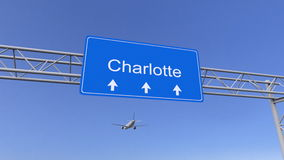 Commercial airplane arriving to Charlotte airport. Travelling to United States conceptual 3D rendering. Commercial airplane arriving to Charlotte airport royalty free stock image