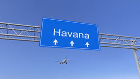 Commercial airplane arriving to Havana airport. Travelling to Cuba conceptual 3D rendering royalty free stock photos
