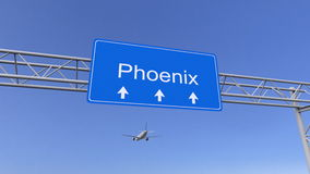 Commercial airplane arriving to Phoenix airport. Travelling to United States conceptual 3D rendering. Commercial airplane arriving to Phoenix airport. Travelling Stock Image