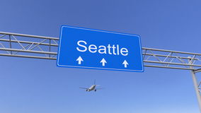 Commercial airplane arriving to Seattle airport. Travelling to United States conceptual 3D rendering Stock Images
