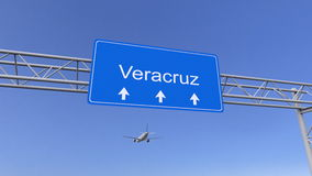 Commercial airplane arriving to Veracruz airport. Travelling to Mexico conceptual 3D rendering Royalty Free Stock Image