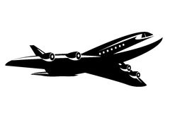 Commercial Airplane. Black and white commercial jumbo jet airline flying Vector Illustration