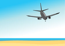 Commercial airplane flying above tropical sea royalty free illustration