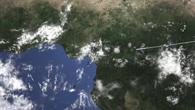 Commercial airplane flying to Port Harcourt, Nigeria, 3D animation. Plane arrives to city on the map. 3D stock video