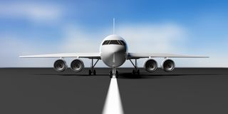 Airplane on airport runway, blue sky background, front view. 3d illustration. Commercial airplane with four engines on airport runway, takeoff or landing, blue Royalty Free Stock Photography