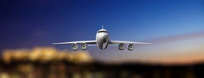 Airplane on airport runway, blur airfield background, front view. 3d illustration. Commercial airplane with four engines takeoff or landing, blur airport lights Stock Photography