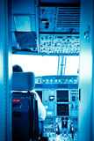 Commercial airplane interior cockpit Stock Photography