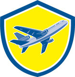 Commercial Airplane Jet Plane Airline Retro. Illustration of a commercial airplane jet plane airliner flying moving up on set inside shield crest isolated Stock Image