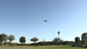 Commercial airplane landing stock video footage