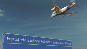 Commercial airplane landing at Hartsfield-Jackson Atlanta International Airport 3D rendering Stock Photos