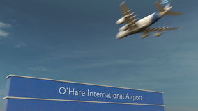 Commercial airplane landing at O`Hare International Airport 3D rendering Royalty Free Stock Images