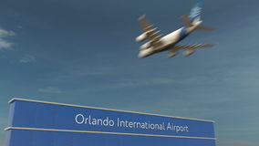 Commercial airplane landing at Orlando International Airport 3D rendering royalty free stock image
