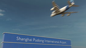 Commercial airplane landing at Shanghai Pudong International Airport 3D rendering Stock Photography