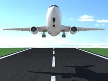Commercial airplane landing or taking off. 3D computer render with slight depth of field Royalty Free Stock Photo