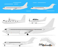 Commercial airplane and private jets Stock Photography