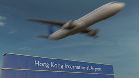 Commercial airplane taking off at Hong Kong International Airport Editorial 3D rendering Royalty Free Stock Photos