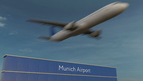 Commercial airplane taking off at Munich Airport Editorial 3D rendering Stock Photos
