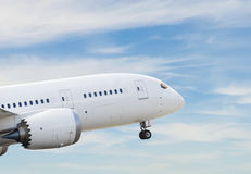 Commercial airplane taking off. On the runway royalty free stock photography