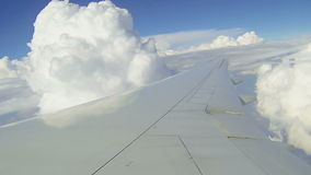 Commercial airplane. Wing of commercial airplane flight flapping in the wind stock video