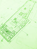 Commercial architecture floor layout plans. A picture of the floor layout blue print plan for a commercial hotel building.  Showing many details of  building Royalty Free Stock Image