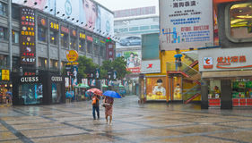 Commercial area in the rain royalty free stock image