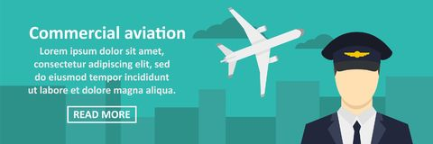Commercial aviation banner horizontal concept. Flat illustration of commercial aviation banner horizontal vector concept for web Stock Images