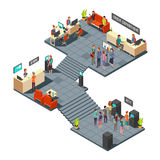 Commercial bank office 3d isometric interior with business people inside. Banking and finance vector concept. Finance bank room with atm illustration royalty free illustration
