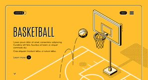 Commercial basketball court vector landing page. Basketball team, sport club black line art, isometric vector web banner, web site template with ball jumping on vector illustration