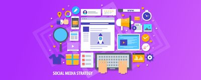 Social media strategy, influencer marketing, content promotion, audience engagement concept. Flat design vector banner. stock illustration