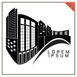 Commercial Building black and white icons vector on white ba Royalty Free Stock Photos
