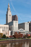 Commercial Building Complex. An assortment of commercial buildings including two skyscrapers form part of the Cleveland, Ohio downtown commercial district stock image