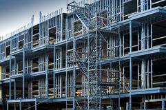 Commercial building construction. New commercial building going up with metal 2 x 4 studs Royalty Free Stock Photography