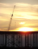 Commercial Building Construction at Sunset royalty free stock images