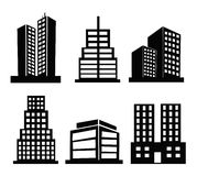 Commercial building icons Stock Photos