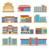 Commercial buildings architecture flat vector. Royalty Free Stock Images
