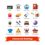 Commercial buildings colourful flat icon set Royalty Free Stock Photos