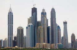 Commercial buildings in downtown Dubai, UAE. During the day Royalty Free Stock Images
