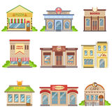 Commercial Buildings Exterior Design Set Of Stickers Royalty Free Stock Photography