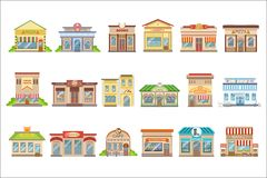 Commercial Buildings Exterior Design Set Of Stickers. Commercial Buildings Exterior Design Set Of Of Colorful Detailed Stickers In Cartoon Manner Flat Vector royalty free illustration