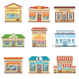 Commercial Buildings Facade Design Set Of Stickers Royalty Free Stock Images