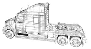 Commercial cargo delivery truck. Isolated. Created illustration of 3d. Wire-frame.  royalty free illustration