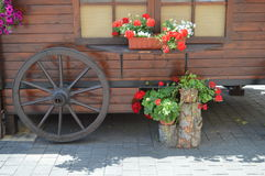 Commercial carriage with flowers. Royalty Free Stock Photography