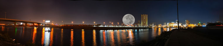 COMMERCIAL CENTER OF JEDDAH. Some of the features of Jeddah at night Royalty Free Stock Photo